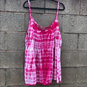 Torrid Tye Dye Pink & White Tank Top Style Size 3X
